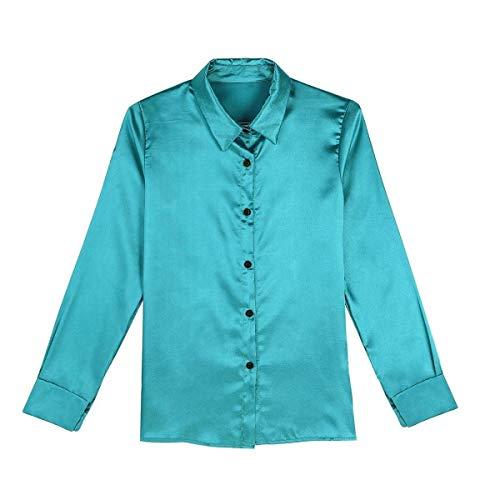 Donna Casuali Lunga Vintage Tops Camicetta con Elegante Camicia Camicia Puro Manica Button Stlie Rosa Lunga Grazioso Moda Colore Blusa Primaverile Autunno Bavero Axdqf