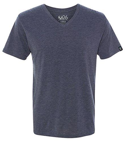 Men's Tri-Blend Soft Wash Jersey V Neck Everyday Plain and Heather T-Shirts Vintage Navy