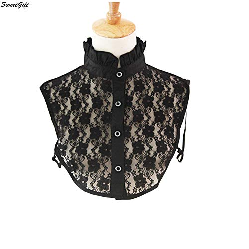 Shirt Ruffle Stand Collar (SweetGift Lace False Collar Sweet Lolita Ruffles Stand Collar Half Shirt Dickey Fake Collar (Full Lace Black))