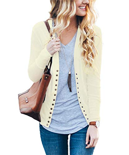 Women's S-3XL Solid Button Front Knitwears Long Sleeve Casual Cardigans Oatmeal M