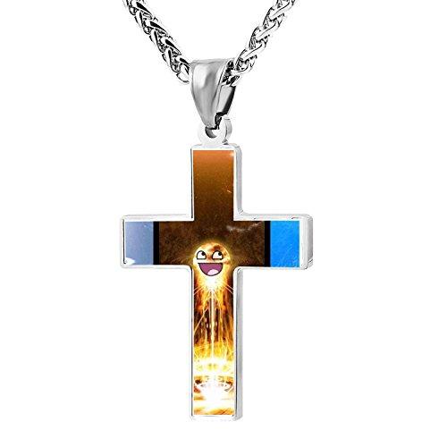 Cool Patriotic Cross Humor Smiley Religious Lord's Zinc Jewelry Pendant Necklace -