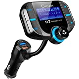 Bluetooth FM Transmitter for car, Quick Charge 3.0, More Stable Bluetooth 4.2 with EDR, Wireless Car Radio Adapter with Hands-Free Calling Car Kit 1.77''Large Screen, Perfect Sound Quality for Music