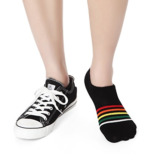 Ankle Low Cut Socks Women - Casual No Show Short Cotton Sneaker Socks for Athletic Running Sports Striped 6 Pairs