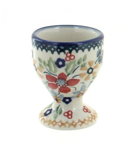 Blue Rose Polish Pottery Red Daisy Egg Cup