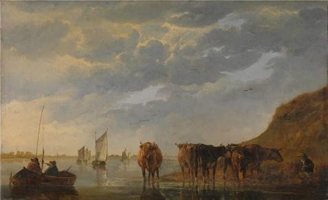 Oil painting 'Aelbert Cuyp - A Herdsman with Five Cows by a River,about 1650-5' printing on high quality polyster Canvas , 10x16 inch / 25x42 cm ,the best Bar decor and Home decor and Gifts is this Beautiful Art Decorative Canvas Prints