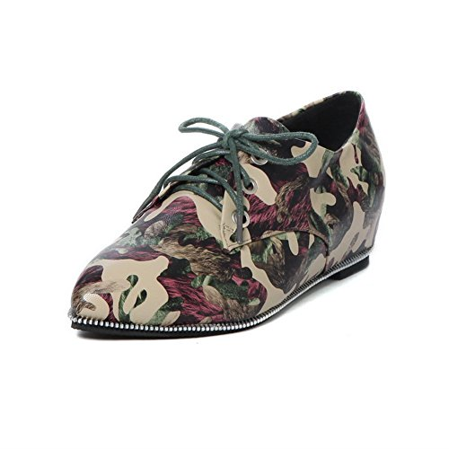BalaMasa Womens Lace-Up Printing Bandage Imitated Leather Pumps-Shoes Red s8E2Ij