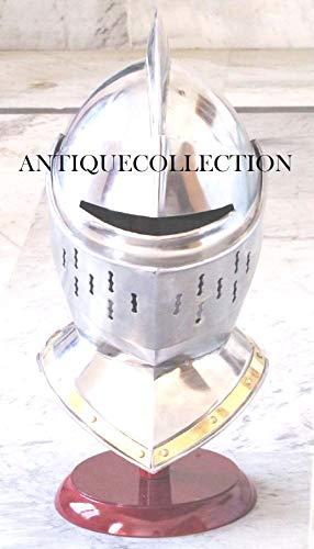 Medieval Knight European Closed Helmet Cosplay Armor Silver