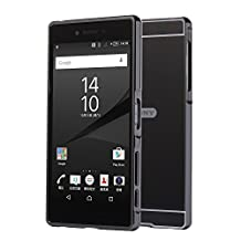 Sony Xperia Z5 Premium Case, Popsky [Metal Frame] [4 Colors] Mirror Back Premium Aluminum Bumper Case Cover with Push-Pull Frame for 5.5 Inch Sony Xperia Z5 Premium Phone (Black)