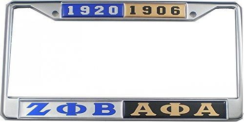 - Cultural Exchange Zeta Phi Beta + Alpha Phi Alpha Split License Plate Frame [Silver/Black - Car/Truck]