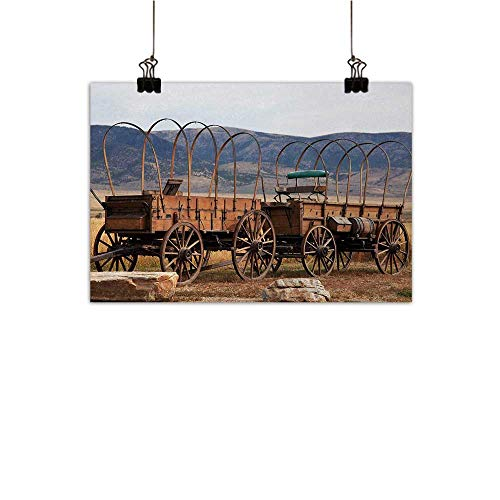 Anzhutwelve Barn Wood Wagon Wheel Modern Frameless Painting Vintage American Carriages Western Historical Transportation Prairie Bedroom Bedside Painting Brown White 35