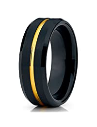 Silly Kings 8mm Black Tungsten Carbide Wedding Band Brushed Yellow Gold Men & Women Comfort Fit Ring