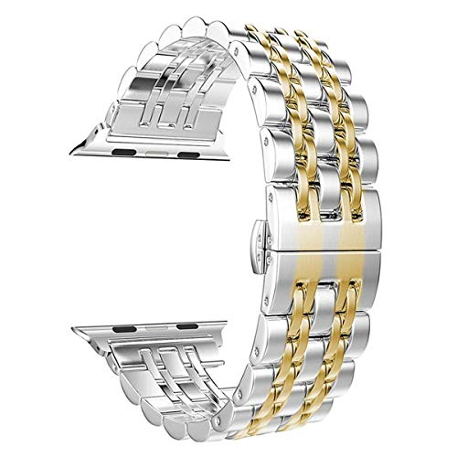 e Watch Band 42mm 44mm Women Men, PUGO TOP Stainless Steel Iwatch Band iPhone Watch Band Metal with Butterfly Buckle for Series 4/3/2/1(42mm/44mm, Gold) ()