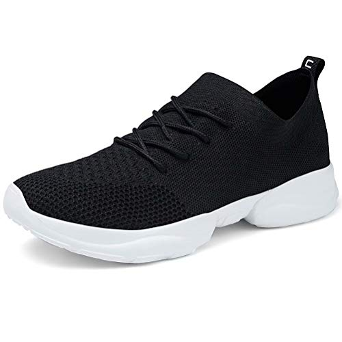 LANCROP Women's Tennis Shoes - Casual Breathable Knitted Athletic Gym Walking Running Sneakers 4.5 M US Black (Best Sneakers For Walking And Running)
