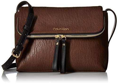 Calvin Klein Elaine Bubble Lamb Novelty Key Item Flap Crossbody, walnut ()