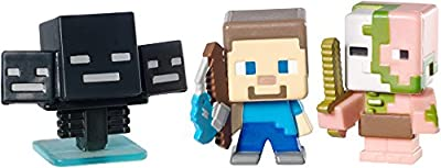 Minecraft Collectible Figures Zombie Pigman, Wither and Fishing Steve 3-Pack, Series 2