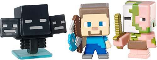 Minecraft Collectible Figures Zombie Pigman, Wither and Fishing Steve 3-Pack, Series 2]()