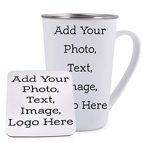 (Customizable Pint Tumbler Mug with Your Custom Photo and Text - Personalized 18oz Stainless Steel Pint Mug with Handle - Create Your Own Design with Picture)