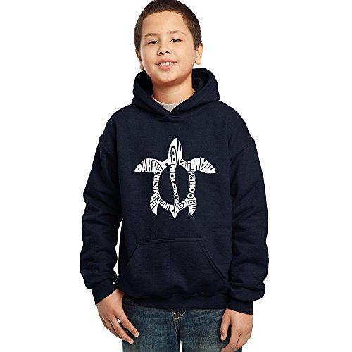 Kids Island Hoodie - Boy's Hoodies - Honu Turtle - Hawaiian Islands- LA Pop Art Navy