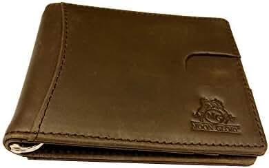 Credit Card Money Clip Genuine Leather Front Pocket Wallets for Men