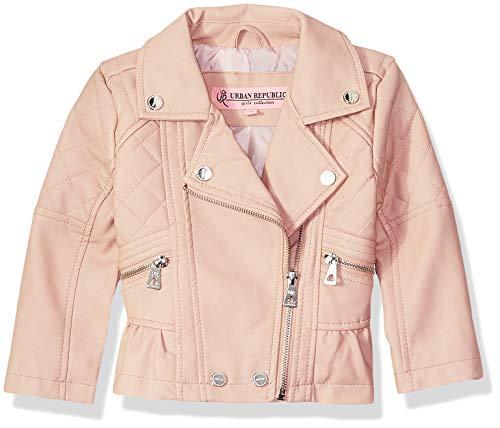 Price comparison product image Urban Republic Toddler Girls Distressed Pu Jackets,  Rose Smoke
