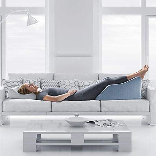 Extra Wide Lounge Doctor Elevating Leg Rest Pillow Wedge w Cooling Gel Memory Foam and Light Blue Cover Large-Foot Pillow-Leg Support-Reduce Swelling-Improves Circulation by The Lounge Dr. (Image #3)