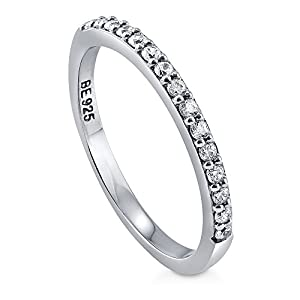 BERRICLE Rhodium Plated Sterling Silver Cubic Zirconia CZ Anniversary Half Eternity Band Ring Size 6