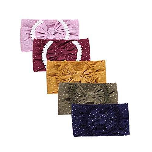 (inSowni 5pcs Nylon Polka Dot Bow Turban Headbands Stretchy Hairbow Headwrap Hair Bands Accssories for Newborns Infants Baby Girls Toddlers Kids)