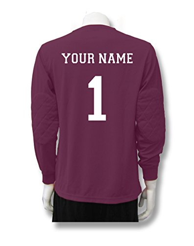 Soccer Goalkeeper Jersey personalized with your name and number - size Adult XL - color Maroon ()