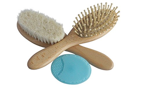 Wooden Baby Brush Set with Natural Goat Hair Bristles ~ Cradle Cap Brush ~ Best Baby Shower and Registry Gift ~ Supports Charity (Brush Set With Blue Scrub Pad)