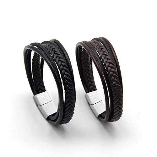 (SEVENSTONE Mens Genuine Leather Bracelet Stainless Steel Mens Bracelet Braided Wristband)