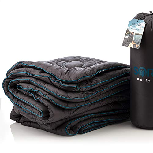 SORISON Puffy Down Alternative Camp and Backpacking Blanket, Camping Top Quilt and Packable Stadium Blanket for Cold Weather