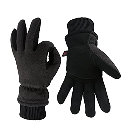 OZERO Winter Gloves with Windproof Deerskin Suede Leather and Insulated Polar Fleece Warm for Women and Men