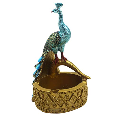 RARITYUS Vintage Peacock Cigar Cigarette Ashtray Resin Ash Tray Holder for Indoor Outdoor Home Decoration ()