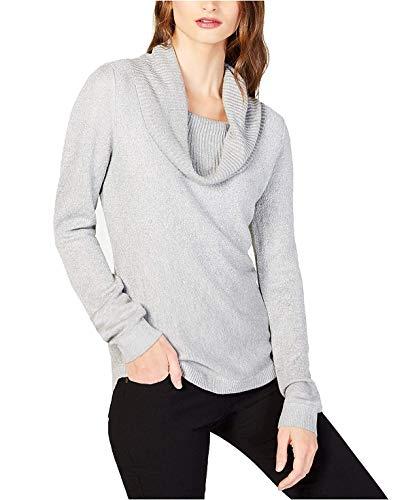 Luxury Cowl Neck Top - NY Collection Women's Petite Metallic Threaded Cowl Neck Sweater Top (Trevor, P/Small)
