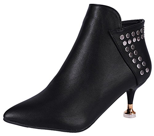 Easemax Women's Stylish Mid Stiletto Heeled Pointed Toe Ankle High Martin Boots With Zippers Black1 qPLP1