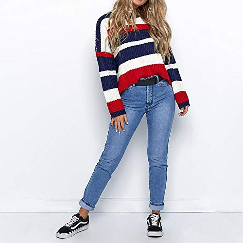 Liraly Sweatshirts For Women New Fashion Women Winter Fashion Long Sleeve Knitted Patchwork Tops Loose Sweater Blouse Shirt Blouses(Red ,US-8 /CN-L) by Liraly (Image #5)