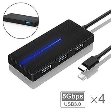 Kootion Hub USB C 3.0 de 4 Puertos USB Concentrador USB 4 en 1 Adaptador USB Tipo C de Alta Velocidad para MacBook, Chromebook, Ordenador, y ...