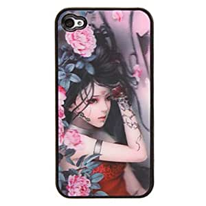 JJE Peony Lady 3D Changing Pattern Protective Plastic Hard Back Case Cover for iphone 4/4S
