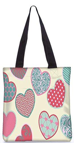 Snoogg Mehrfarbenherz Taschen 13,5 X 15 In Einkaufstasche Dienstprogramm Trage Von Polyester Canvas