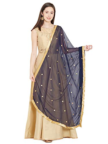 (TMS Woman's Embroidered Chiffon Dupatta Scarf Shawl Wrap Soft Indian Bridal Wedding (Navy Blue))