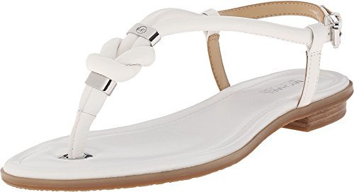 Michael Michael Kors Holly Sandal Women Open Toe Leather Thong Sandal (7.5 B (M) US, Optic White)