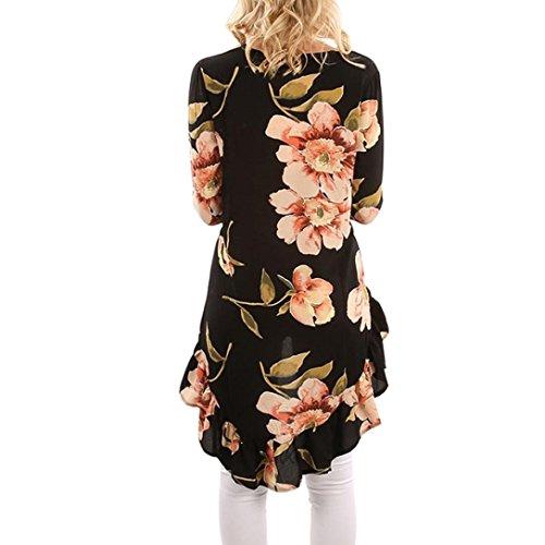 Tops Noir Tops Shirt Chemise Dames Floral Occasionnel Femmes Chemisier T Ruffles Occasionnel Chemisier Imprimer Irrgulire L Yanhoo Sexy Manches D't Filles Blouse Longues Femmes Noir rrgAqX