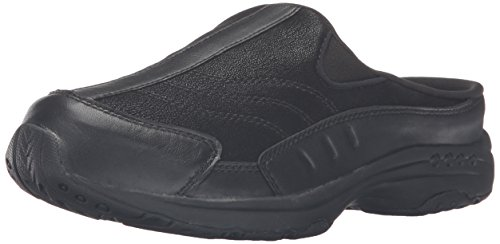 Easy Spirit Women's Traveltime Clog, Black/Black Leather, 7.5 W US