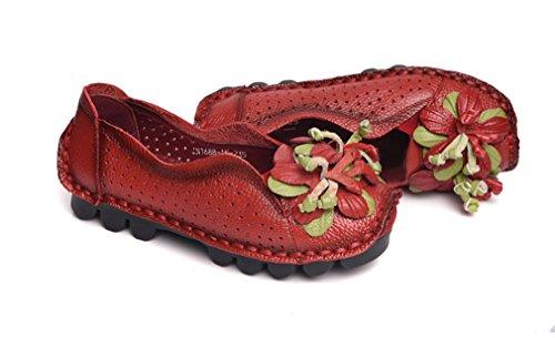 Soojun Damesleder Uitgesneden Comfort Flat Slip-ons Rood