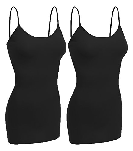 Emmalise Women Camisole Built in Bra Wireless Fabric Support Long Layering Cami, Large, 2Pk Black Black