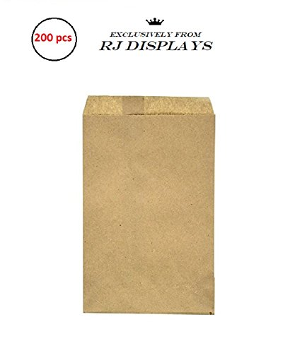 200 Brown Kraft Paper Bags, 4 x 6, Good for Candy, Cookies, Doughnut, Crafts, Party Favor, Sandwich, Jewelry Merchandise- By RJ -