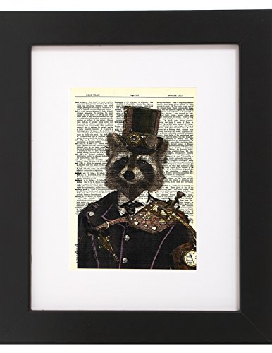 "Dictionary Art Print - Steampunk Racoon ""Colonel Roderick Racoonbottom"" - Printed on Recycled Vintage Dictionary Paper - 8""x11"" - Mixed Media Poster on Vintage Dictionary Page"