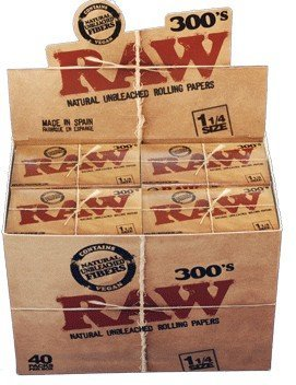 RAW Natural 300s Rolling Papers 1.25 size (Box of 40) by Raw Threads