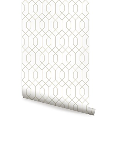 Beige Geometric Wallpaper - Geometric Hexagon Wallpaper - Peel and Stick - by Simple Shapes (single sheet 2ft x 4ft, Beige)
