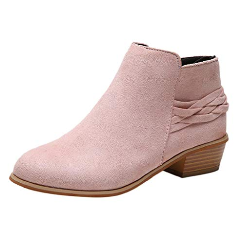 (REYO Women Casual Boots Ankle Solid Knitted Flock Bootie Winter Waterproof Walking Martin Short Boots Shoes Pink)
